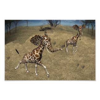 Cute Elephant Giraffes Art Photo