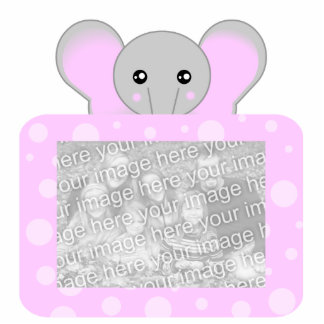 Cute Elephant Photo Sculpture Pink Dots Frame