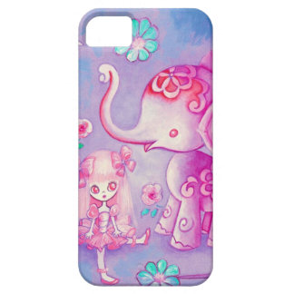 Cute Elephant With Pink Haired Girl iPhone 5 Cases