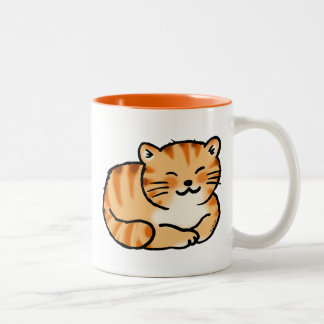 cute fluffy ginger and white cat Two-Tone mug