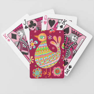 Cute Folk Art Bird Playing Cards