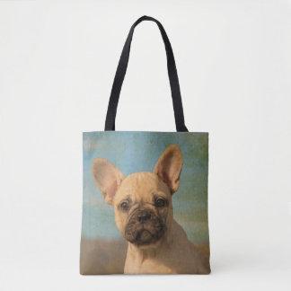 Cute French Bulldog Puppy Portrait Photo - Shopper Tote Bag
