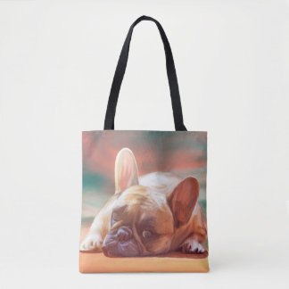 Cute French Bulldog Water Color Art Painting Tote Bag