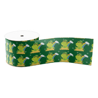 Cute Frog Irish Shamrock Grosgrain Ribbon