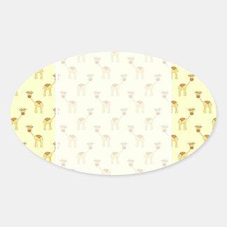Cute Giraffe Pattern on Yellow. Oval Sticker