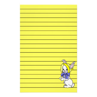 Cute Girl Bunny Art Graphic Lined Stationery