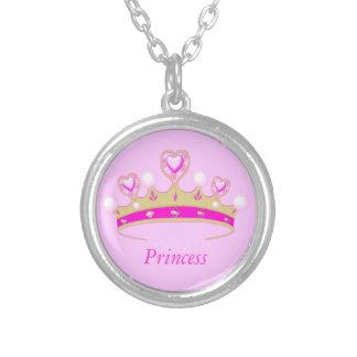 Cute Girl's Pink Faux Jewel Princess Crown Tiara Round Pendant Necklace
