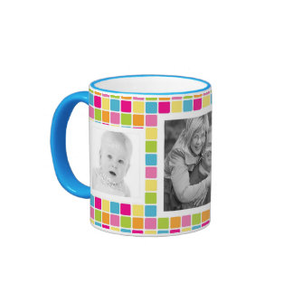 Cute Girly Candy Colors Photo Template Ringer Mug