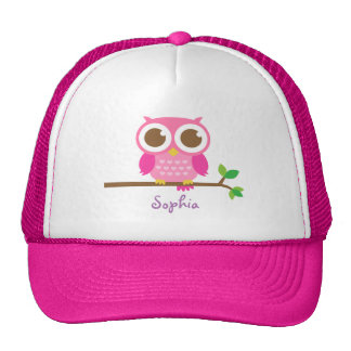 Cute Girly Pink Owl For Girls Cap