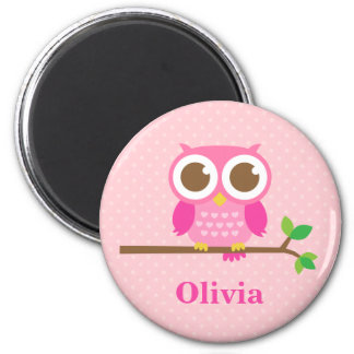 Cute Girly Pink Owl on Branch For Girls 6 Cm Round Magnet