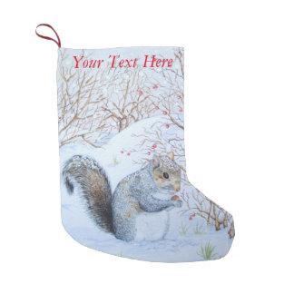 cute gray squirrel snow scene wildlife art