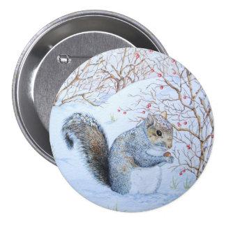 cute gray squirrel snow scene wildlife art 7.5 cm round badge