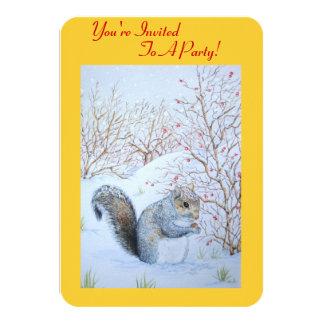 cute gray squirrel snow scene wildlife art 9 cm x 13 cm invitation card