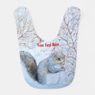 cute gray squirrel snow scene wildlife art baby bibs