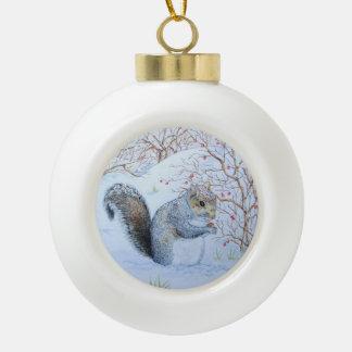 cute gray squirrel snow scene wildlife art ceramic ball decoration