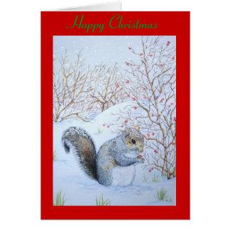 cute gray squirrel snow scene wildlife art greeting card