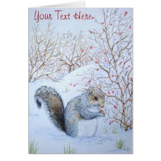 cute gray squirrel snow scene wildlife art note card