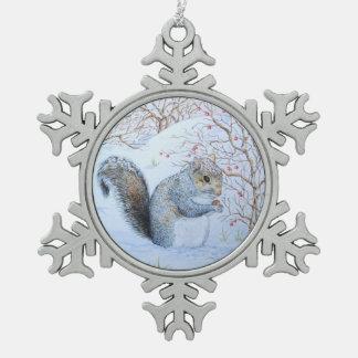 cute gray squirrel snow scene wildlife art pewter snowflake decoration