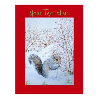 cute gray squirrel snow scene wildlife art postcard