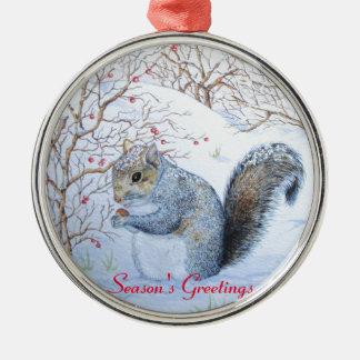 cute gray squirrel snow scene wildlife art Silver-Colored round decoration