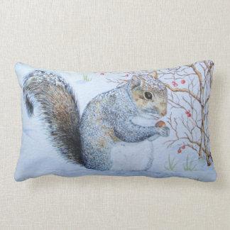 cute gray squirrel snow scene wildlife art throw cushion