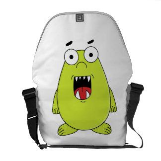 Cute green monster commuter bag