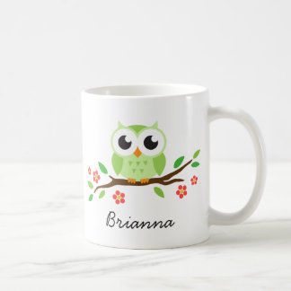 Cute green owl on floral branch personalized name basic white mug