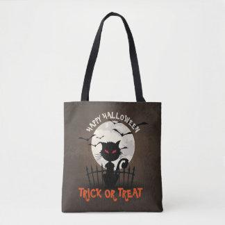 Cute Halloween Cat Full Moon & Flying Bats Tote Bag