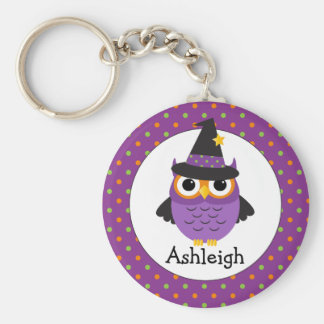 Cute Halloween Owls Add Your Name Keyring Basic Round Button Key Ring