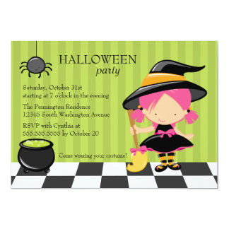 Cute Halloween party witch and spider invitation