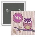 Cute Herringbone Owl Trendy Orchid Purple Moon 15 Cm Square Badge