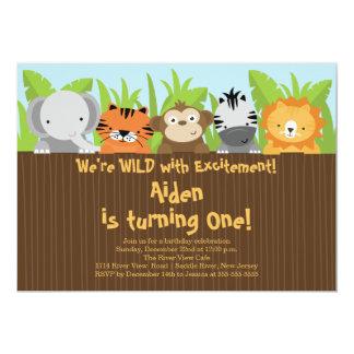 Cute Jungle Safari Zoo Animals Kids Birthday 13 Cm X 18 Cm Invitation Card
