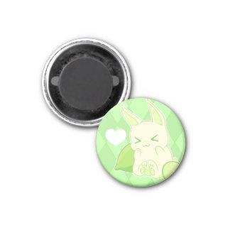 Cute kawaii green lime bunny 3 cm round magnet