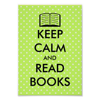 Cute Keep calm and read books poster print