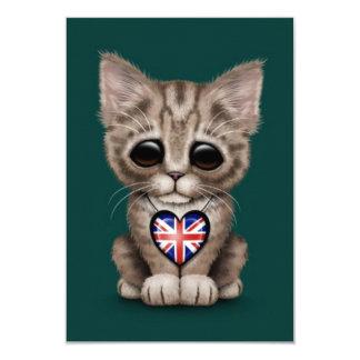 Cute Kitten Cat with British Flag Heart, teal 9 Cm X 13 Cm Invitation Card