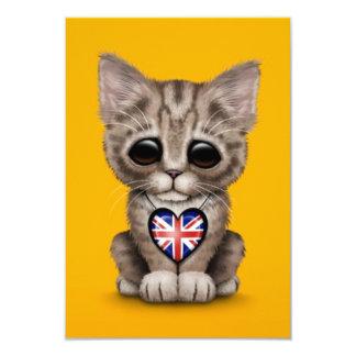 Cute Kitten Cat with British Flag Heart, yellow 9 Cm X 13 Cm Invitation Card