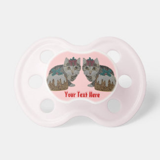 cute kitten gray tabby pudding christmas baby pacifiers