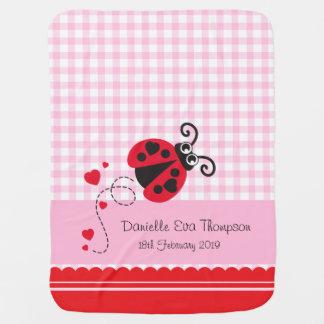 Cute ladybug pink red custom name date blanket pramblankets