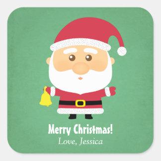 Cute Little Santa Claus Christmas Cheer Square Sticker