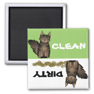 Cute Maine Coon Cat Clean Dirty Dishwasher Magnet