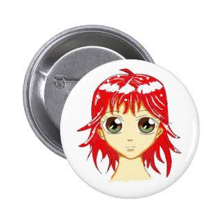 Cute Manga Girl Button