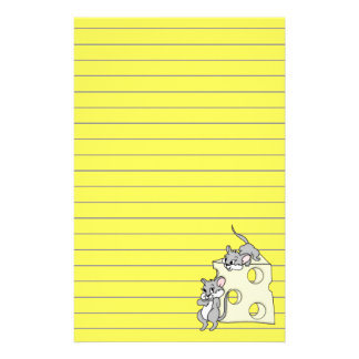 Cute Mice And Cheese Graphic, Lined Customized Stationery