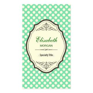 Cute Mint Green Polka Dots Elegant Vintage Frame Pack Of Standard Business Cards