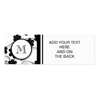 Cute Mod Black Flowers Pattern, Your Initial Pack Of Skinny Business Cards