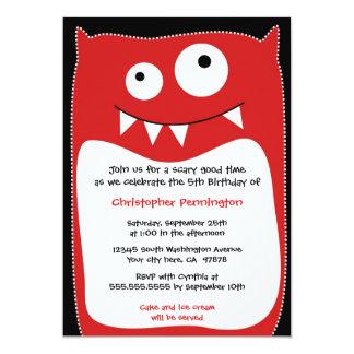 Cute monster pillow boys birthday party invitation