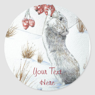 Cute mouse and red berries snow scene wildlife art round sticker