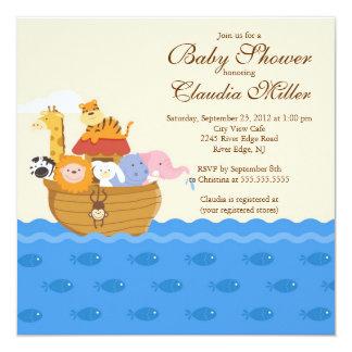 "Cute Noah""s Ark Baby Girl or Baby Boy Shower 13 Cm X 13 Cm Square Invitation Card"