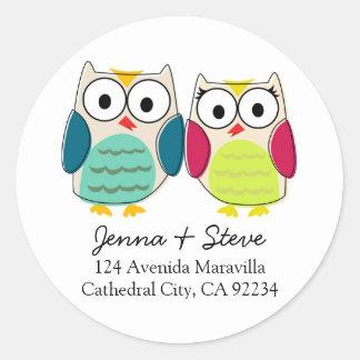 Cute Owl Address Labels Round Sticker