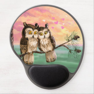 Cute  owls couple gel mouse pad