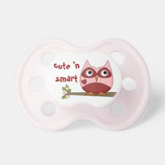 Cute Owls Smart Red Pink Cartoon Owl Small Heart Pacifier